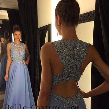 Lace Prom Dresses, Applique Beaded Lavender Prom Dresses, 2016 Lace Evening Dress