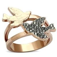 Love Does Silver and Rose Gold Stainless Steel Crystal Ring