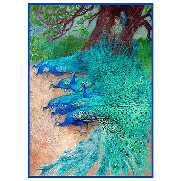 A Muster Of Peacock Birds by Warwick Goble Counted Cross Stitch Pattern
