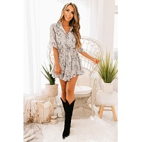 Know Your Way Snake Print Button Up Dress (Grey/Black)