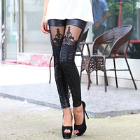 2018 New Fashion Punk Women Leggings Embroidery Lace Up Skinny PU Leather Trousers Sexy Lace Patchwork Pants H9