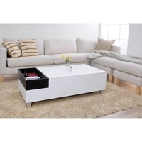 White Modern Coffee Table with Accent Tray and Metal Legs