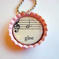 Glee Bottle Cap Pendant Necklace - Paper and Resin - Vintage Sheet Music - Pink - With Chain - One of a Kind