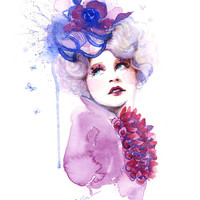 Hunger Games Catching Fire Effie -  Watercolor Painting Art Print - Fashion Makeup