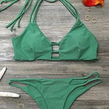 Cupshe Ice Cold Summer Strappy Halter Bikini Set