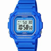 Mns Sqr Blue Digi Watch Five alarms,, world time stopwatch,, countdown timer WR 100 meter -ww