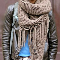 Mens Oversized Scarf  Hand Knit Chunky Triangle Scarf Festival Scarf Unisex Scarf Shawl Shoulder Wrap Fashion Accessories Made to Order