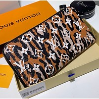 LV Louis Vuitton New fashion monogram leopard  print leopard wallet purse handbag