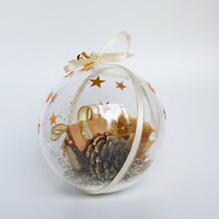 Gold Christmas bauble, Christmas decoration, tree decoration, rustic Christmas decor, festive decoration, Christmas tree, Christmas gift