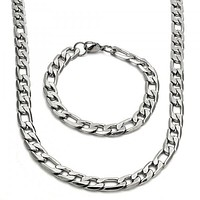 Stainless Steel Necklace and Bracelet, Figaro Design, Golden Tone