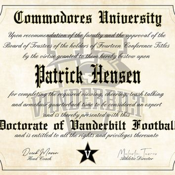 "Vanderbilt University Commodores Ultimate Fan Personalized Diploma - 8.5"" x 11"" Parchment Paper"