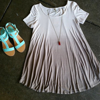 An Ombre Tee Shirt Dress in Beige and Stone