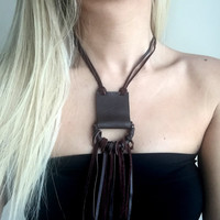Brown Leather Necklace,Fringe Brown Leather Necklace,Long Necklace,Genuine Leather Necklace,Leather Cord Necklace,Leather Tassel Necklace