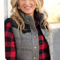 Back to Business Gray and Black Quilted Vest - LAST ONE !