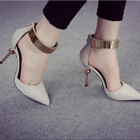2016 Woman  Shoes High Heels Women Pumps Stiletto Thin Heel Women's Shoes Nude Pointed Toe High Heels Wedding Shoes