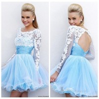 Long Sleeve Blue Prom Evening Party Dresses Ball Gown Short Cocktail Skirt Dress