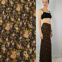 90s Floral Skirt Long Boho Hippie Soft Grunge Small Med Maxi Vintage Womens Clothing Rose Brown Fall Earth Tones Bohemian Babe Sheer