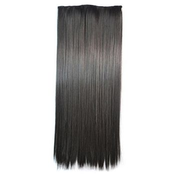 5 Cards Long Straight Hair Extension Wig natural black