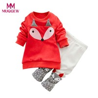 Fashion Warm Autumn Winter Clothes Sets for Toddler Baby Boy Girl Fox Pattern Long Sleeve Sweatershirt Top+Pants Outfits Clothes