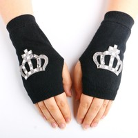 2016 New Gloves & Mittens Crystal Luva Women's Sparkling half finger fingerless Glove Diamond Lucy Refers To Knitted Rhinestones