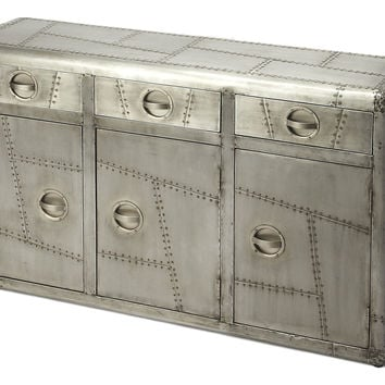 Handcrafted Aluminum Aviator Metal Storage Console Cabinet