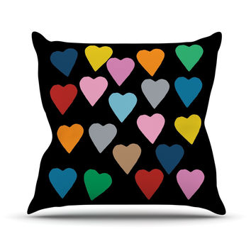 """Project M """"Hearts Colour on Black"""" Outdoor Throw Pillow"""