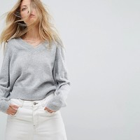 ASOS Cropped Sweater with V Neck in Mohair Blend at asos.com