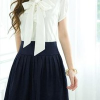 white & navy short sleeve dress bow falbala sale 021X from GHL   --- search for me in Marketplace