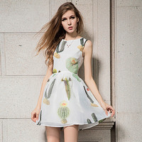 Cactus Print Sleeveless Shirtwaist A-Line Pleated Mini Dress