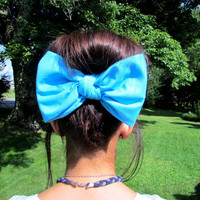 Bandana hair bow, large hair bow,hair clip, hair bow,bow,big hair bow,teens accessories,teens,womens,big bows for hair,hair accessories,Aqua
