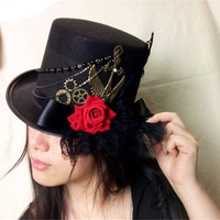 Black Victorian Steampunk Top Hat