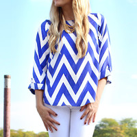 Can You Zig It Blouse - Royal