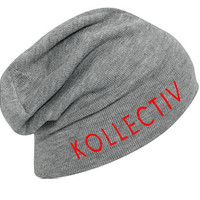 "Kollectiv ""Wordmark"" Knit Slouch Beanie 12"" (H.Gry/Red)"