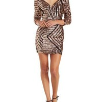 Bronze Metallic Plunging Sequined Bodycon Dress by Charlotte Russe