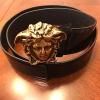 Versace Trending Women Men Metal Logo Leather Belt I