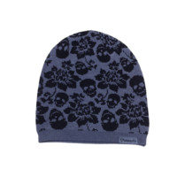 Loungefly – Chill Code Skull & Flower Print Knit Slouchy Beanie In Grey/Black | Thirteen Vintage