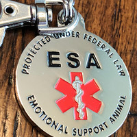 Emotional Support Animal Tag (ESA) Red Medical Alert Symbol and Protected by Federal Law 1.25 inch ID Tag. Made for larger breed