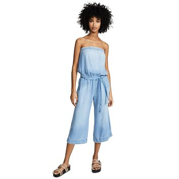Bella Dahl Strapless Chambray Frayed Jumpsuit