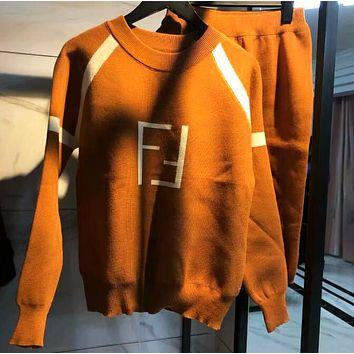 "Hot Sale ""FENDI"" Popular Women Personality Double F Letter Knit Long Sleeve Skirt Two Piece Set"
