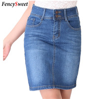 2017 New Casual Women Summer Saias Plus Size Denim Jeans Skirt Ladies Long Jean Pencil Skirts Midi XXXL  4XL 5XL 6XL Femininas