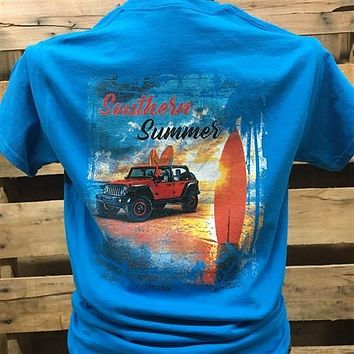 South Waters Southern Summer Jeep Surfboard Beach Unisex  Bright T Shirt