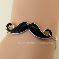 Black Mustache Bracelet, Moustache Bracelet, Friendship Graduation Birthday Christmas Gifts