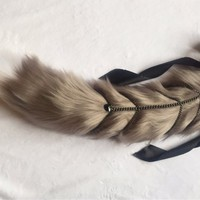 Luxury Smokey Grey with Chain Add On Kitten Play BDSM Tail Faux Fur 25 Inch