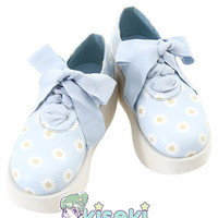 Daisy pastel Blue Platform Shoes - Fairy Kei, Pop Kei, Mori Kei, Cult Party Kei, Sweet Lolita - FREE SHIPPING from Kiseki