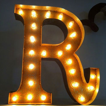 Vintage Marquee Lights Letter R by VintageMarqueeLights on Etsy