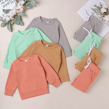 Kids Sweatshirt and Jogger Pants Set in Classic Colors Unisex Winter Outfit Boys and Girls