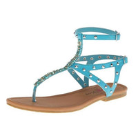 Penny Loves Kenny Peak Studded Thong Sandal Turquoise