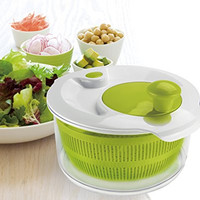Large Salad Spinner, Handy Multi-Use Kitchen Tool That Also Drains Pasta, Grains, Beans, Fruits, & Vegetables, 5.0 Quart Bowl, By Jobox