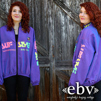 Vintage 80's Surf Style Iridescent Purple Neon Zip Up Windbreaker Jacket Pullover S M L