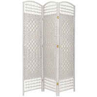Oriental Furniture FB-DMND-WHT-3P 5 1/2 Ft. Tall Fiber Weave Room Divider White Three Panel, Width - 46.5 Inches